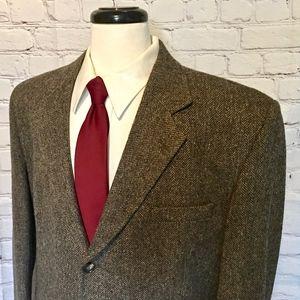 Woolrich Brown Herringbone Wool Sport Coat 46R